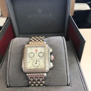 Michele Deco Two-Tone Yellow & SS Diamond Watch